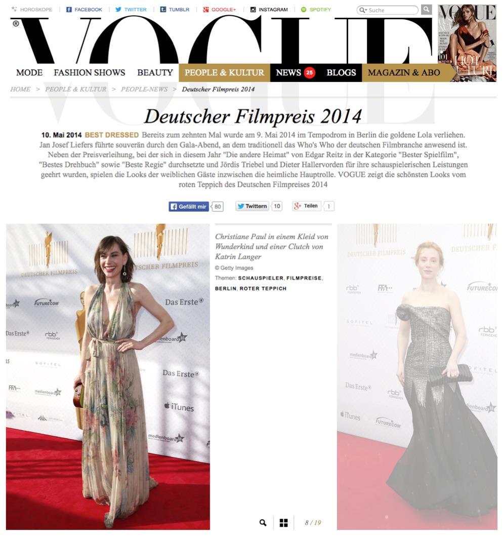 Deutscher Filmpreis 2014  Christiane Paul Vogue