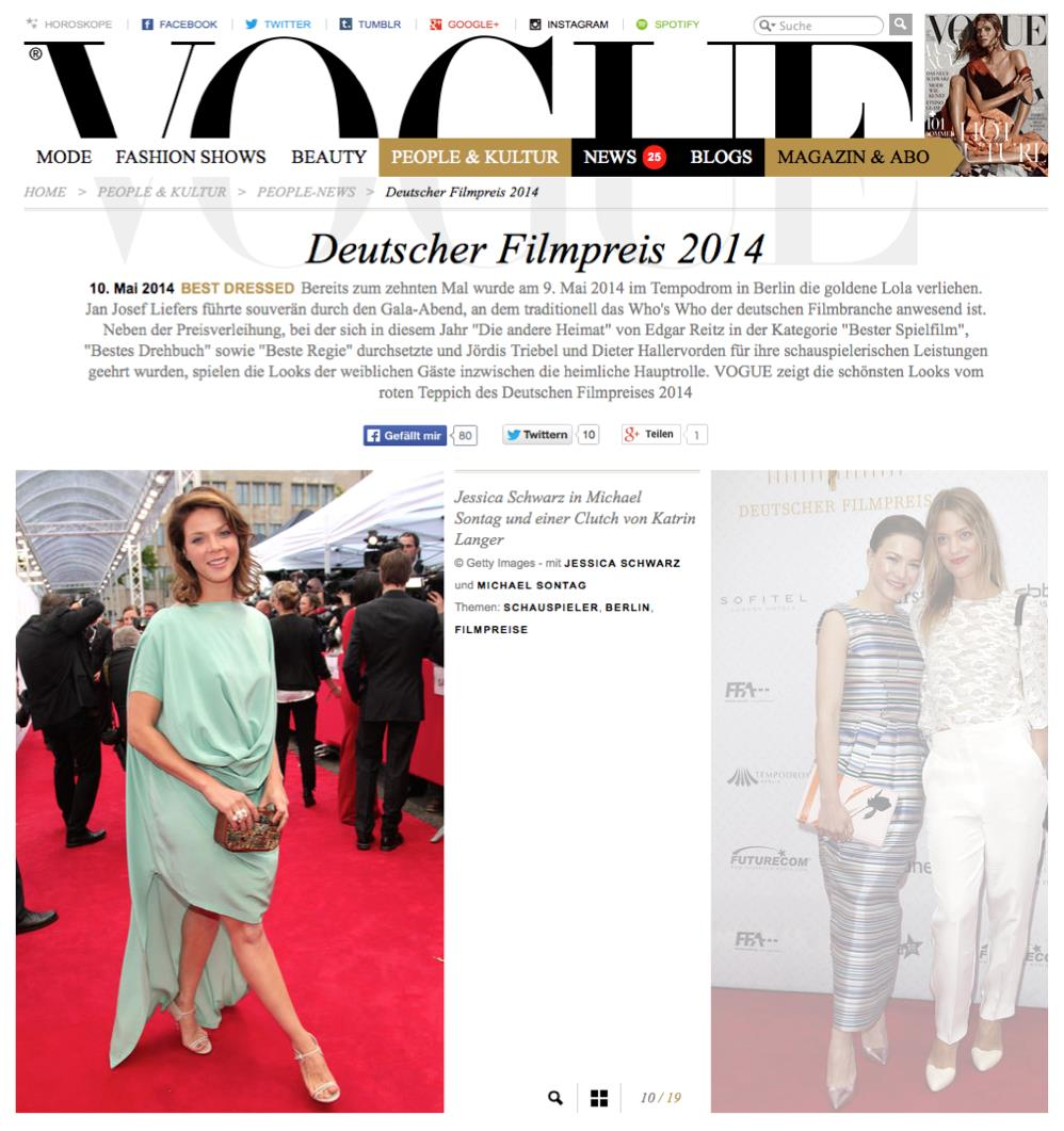 Deutscher Filmpreis 2014 Jessica Schwarz Vogue